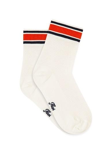 Mavi File Detaylı Soket Çorap Beyaz